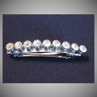 Vintage Signed Silvertone & Rhinestone Barrette Made in France