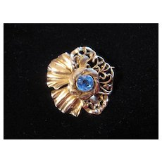 Vintage Rare Signed Hobe Sterling Silver Pansy Flower Brooch