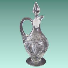 Hard to Find Vintage Cambridge Glass Chantilly Etch Cruet