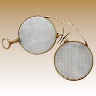 Vintage Pince Nez 14 Karat Gold Spectacles