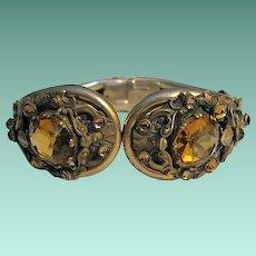 Vintage Art Nouveau Clamper Bracelet with Amber Glass Stones