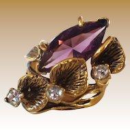 Vintage Signed 14K HGE & Rhinestone Ring