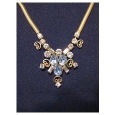 Vintage Signed Leo Glass Goldtone and Rhinestone Festoon Necklace