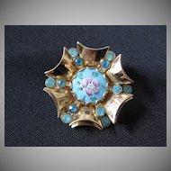 Vintage Goldtone, Rhinestone & Guilloche Enamel Handpainted Brooch