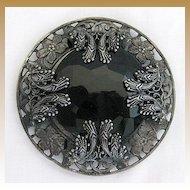 Antique Victorian Art Nouveau Black Jet Sash or Belt Slide