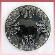 Antique Victorian Art Nouveau Black Jet Sash or Belt Slide