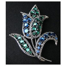 Vintage Signed Weiss Large Tulip Flower Brooch or Pin