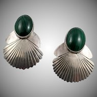 Vintage Navajo L James Sterling Silver and Malachite Earrings