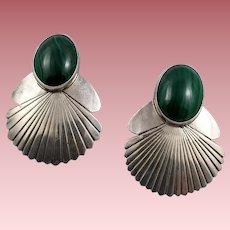 Vintage Sterling Silver and Malachite Earrings