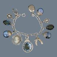 Vintage Signed Napier Silver and Blue Charm Bracelet