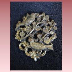 Antique Art Nouveau Birds and Flowers Dress Clip