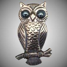 Vintage Signed Bell Copper Owl Brooch
