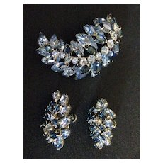 Scarce Vintage Signed Sherman Shades of Blue Demi Parure Brooch and Earring Set