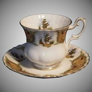 "Scarce Vintage Royal Albert ""Knotty Pine"" Pattern Cup & Saucer Set"