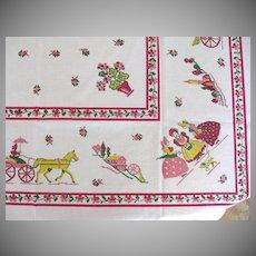 Vintage Startex Figural Print Tablecloth