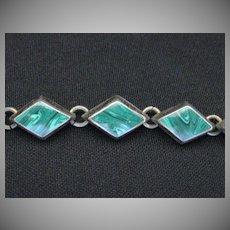 Vintage Signed Taxco Mexico Sterling Silver & Malachite Bracelet