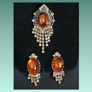 Vintage Signed Hobe Demi Parure Dangle Brooch or Pendant & Earrings Set