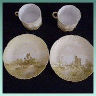 Pair of Very Fine Vintage Hand Painted Cups & Saucers by Rosenthal