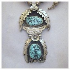 Vintage Signed Navajo Sterling Silver and Turquoise Pendant Necklace