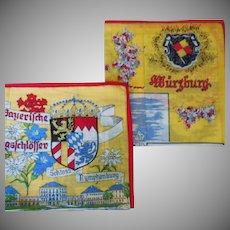 Vintage Pair of Germany Souvenir Handkerchiefs