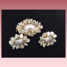 Vintage Signed Vendome Demi Parure MOP Brooch and Earrings