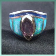 Vintage Sterling Silver, Fire Opal, Amethyst & Lapis Ring