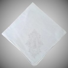 """Vintage Linen Monogram """"A"""" Handkerchief"""