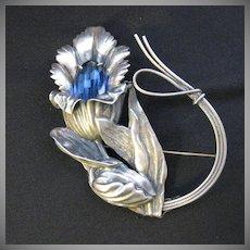 Vintage Signed Sterling Silver Large Flower Brooch