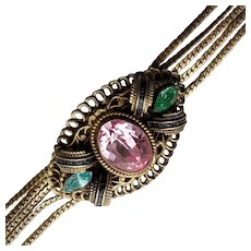 Antique Czech Glass and Enamel Bracelet
