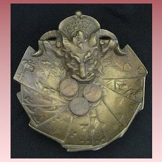 Vintage Devil Head Advertising Bronze Coin Tray