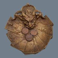 Vintage Bronze Advertising Devil Tray