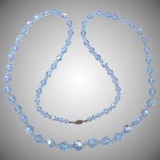 Vintage Hand Cut Blue Aurora Borealis Crystal Bead Necklace