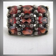 Vintage Signed Sterling Silver & Hessonite Garnet Ring