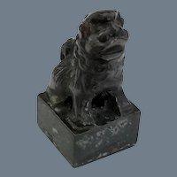 Signed Antique Bronze Foo Dog