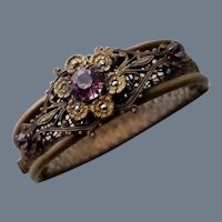 Vintage Brass, Rhinestone and Marcasite Bracelet
