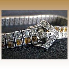 Vintage Signed Sterling Silver & Rhinestone Buckle Bracelet