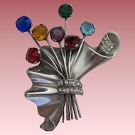Vintage Art Deco Signed Sterling Silver & Multi-Color Rhinestone Brooch