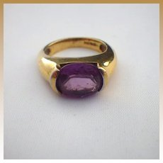 Vintage Sterling Silver Vermeil & Synthetic Spinel Ring
