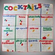 "Vintage ""Cocktails"" Handkerchief"