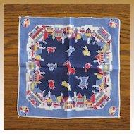 Vintage Children's Primary Colors Handkerchief