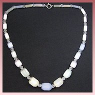 Vintage Hand Cut Czech Satin Glass Necklace