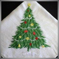 Vintage Embroidery Christmas Tree Handkerchief
