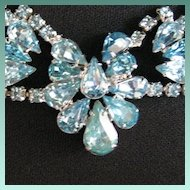 Vintage Aqua Blue Rhinestone Necklace