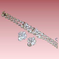 Vintage Signed Eisenberg Rhinestone Demi-Parure Bracelet & Earrings