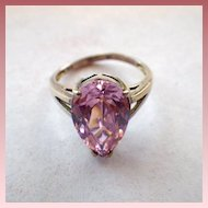 Vintage Signed 925 Sterling Silver & Pink Stone Ring