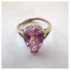 Vintage Signed 925 Sterling Silver and Pink Stone Ring