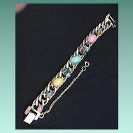 Vintage Signed Kafin Link Cabochon & Rhinestone Bracelet
