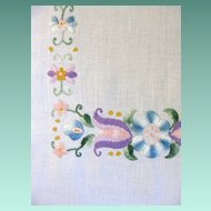 Vintage Hand Embroidered Pastel Tulip Floral Linen Runner