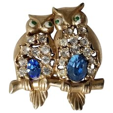 Vintage Goldtone and Rhinestone Owl Brooch