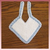 Vintage Blue & White Crochet Baby or Doll Bib